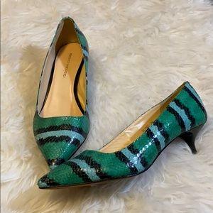Green snake Sesto Meucci kitten heels